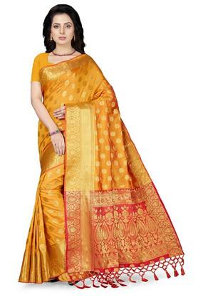 ISHINWomens Gold Woven Saree With Blouse Piece - 204668411_9418