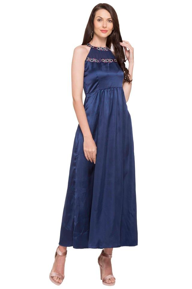 Womens Band Collar Solid Embroidered Maxi Dress