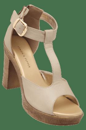 LEMON & PEPPERWomens Casual Ankle Buckle Closure Peep Toe Heel Sandal - 200619725