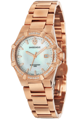SWISS EAGLE Womens Glide 3 Hand Date Round Dial  Watch SE-6041-3M