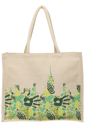 X BACK TO EARTH Printed Jute Bag 6d76ff9eaeb6c