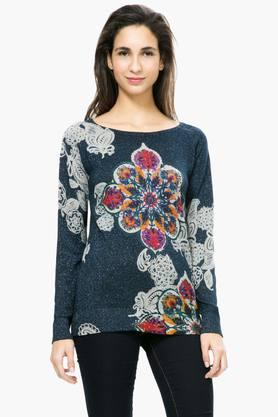 DESIGUAL Womens Round Neck Printed Embellished Sweater - 201185478