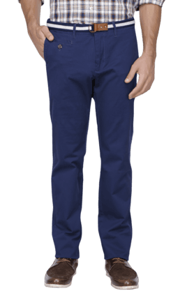 INDIAN TERRAIN Mens Slim Fit Solid Chinos - 200699370