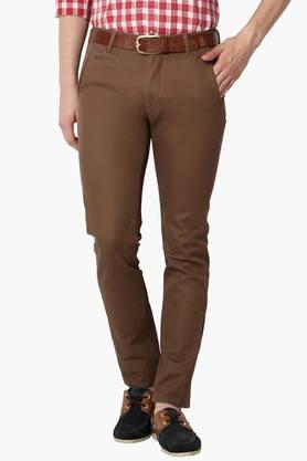 PETER ENGLANDMens Super Slim Fit 5 Pocket Solid Trousers