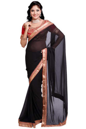 DEMARCA Women Satin And Chiffon Saree (Buy Any Demarca Product & Get A Pair Of Matching Earrings Free)