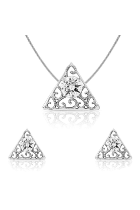 MAHI Mahi Rhodium Plated Pendant Set For Women NL1105004R