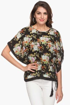 Womens Round Neck Printed Kaftan Top
