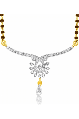 SPARKLES Gold Mangalsutra With Diamond Pendant Set N9255