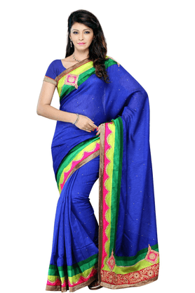 DEMARCA De Marca Blue Art Silk Designer DF-425A Saree