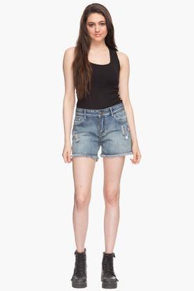 Womens 5 Pocket Heavy Wash Shorts