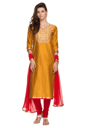 KASHISH Womens Embroidered Churidar Suit
