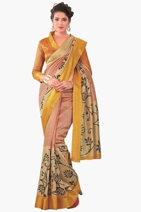 DEMARCA Womens Printed Gold Woven Saree - 201811318_9111
