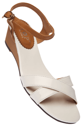 STOP Womens White Gloria Ankle Closure Wedge Sandal