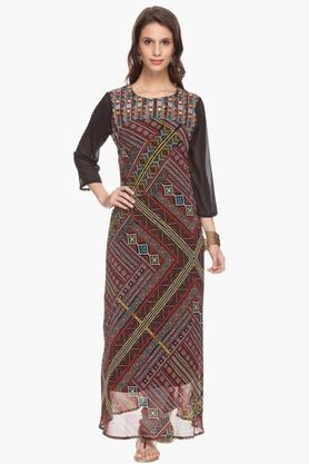 IMARA Womens Embroidered Maxi Dress