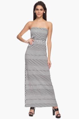 Western Dresses - Womens Stripe Off Shoulder Maxi Dress