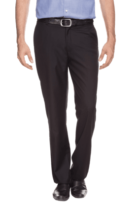 WILLS LIFESTYLE Mens Slim Fit Solid Formal Trousers - 200075119