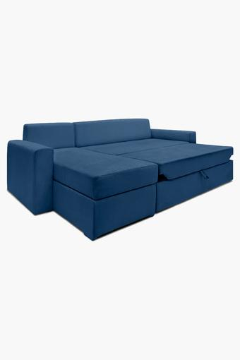 Persian Blue Fabric Sectional Sofa Bed (Lounger)