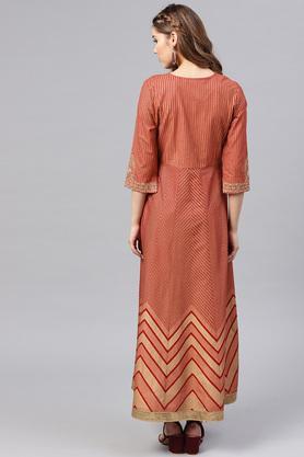 Womens Anarkali Fit Round Neck Stripe Embroidered Maxi Dress