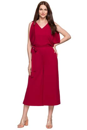Womens V Solid Jumpsuit