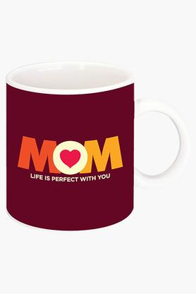 CRUDE AREA Life Is Perfect With Mom Printed Ceramic Coffee Mug
