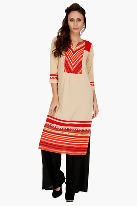 FUSION BEATS Womens Slim Fit Printed Kurta - 201217670