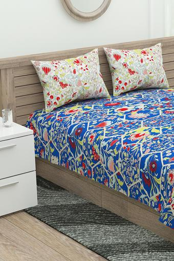 Floral Printed Double Bed Sheet with Pillow Cover