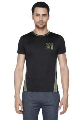 BLACK PANTHER Mens Round Neck Short Sleeve Solid T-Shirt