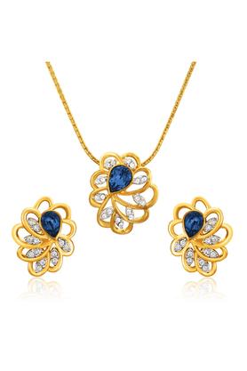 MAHIMahi Valentine Love Gold Plated Blue Marigold Flower Pendant Set Made With Swarovski Elements For Women NL1104128GBluWhi