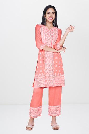 GLOBAL DESI -  PeachSalwar & Churidar Suits - Main