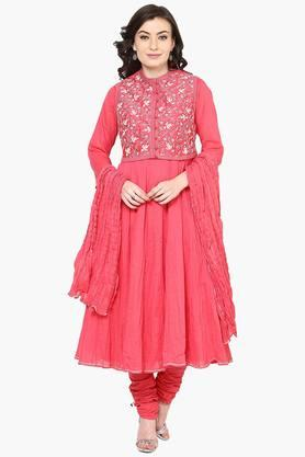 BIBA Womens Cotton Silk Anarkali Suit Set