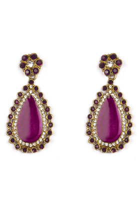 TRIBAL ZONE Golden Ethnic Drop Earrings With Pink Meena Work