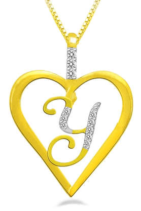 SPARKLESValentine Special Pendant - Y Shaped, With Gold Plated Silver Chain.