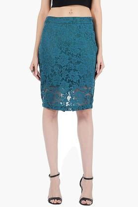 FABALLEY Womens Lace Knee Length Skirt - 201993912