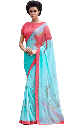 DEMARCA De Marca Multicolor Georgette Designer DF-595A Saree