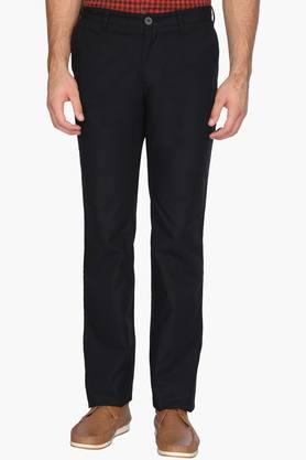 INDIAN TERRAIN Mens Regular Fit 4 Pocket Solid Trousers (Kansas Fit)  ...