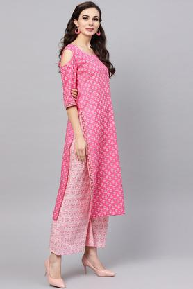 Womens Straight Fit Round Neck Printed Palazzo Suit