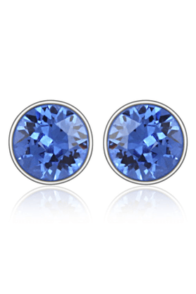 MAHI Mahi Rhodium Plated Blue Bolt Earrings Made With Swarovski Elements For Women ER1104083RBlu