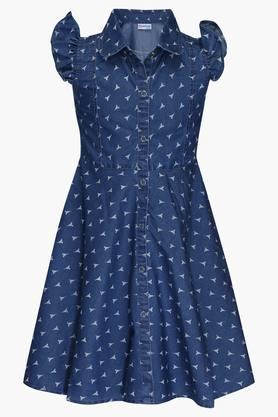 Girls Collared Printed Flared Dress