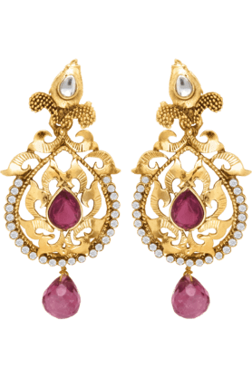 DONNA Traditional Ethnic Purple Drop Dangler Earring With Crystals For Women By Donna ER30010G (Use Code FB15 To Get 15% Off On Purchase Of Rs.1200)