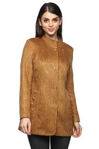 Womens Mandarin Collar Herringbone Coat