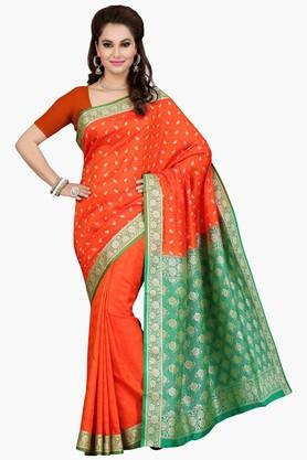 ISHIN Womens Colour Block Golden Weave Saree - 201774572