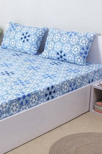 79460631ae Buy HOUSE THIS The Wily Kaleidoscope 100% Cotton Single Bed Sheet & 1  Pillow Cover - Blue | Shoppers Stop