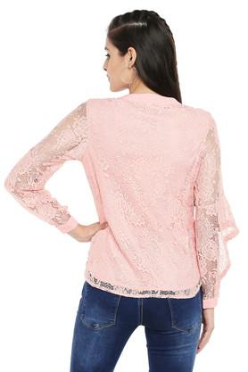 Womens Mandarin Collar Lace Shirt