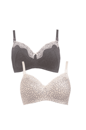 MOTHERCARE Women Cotton Blended Padded Wired Bra (- Pack Of 2)