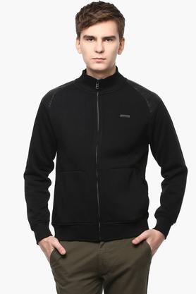 T-BASEMens Zip Through Neck Solid Sweatshirt - 201394617