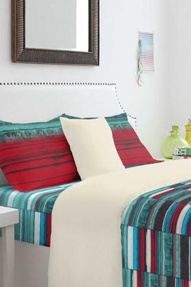 SPACES Cotton Stripe Double Bedsheet With Pillow Cover