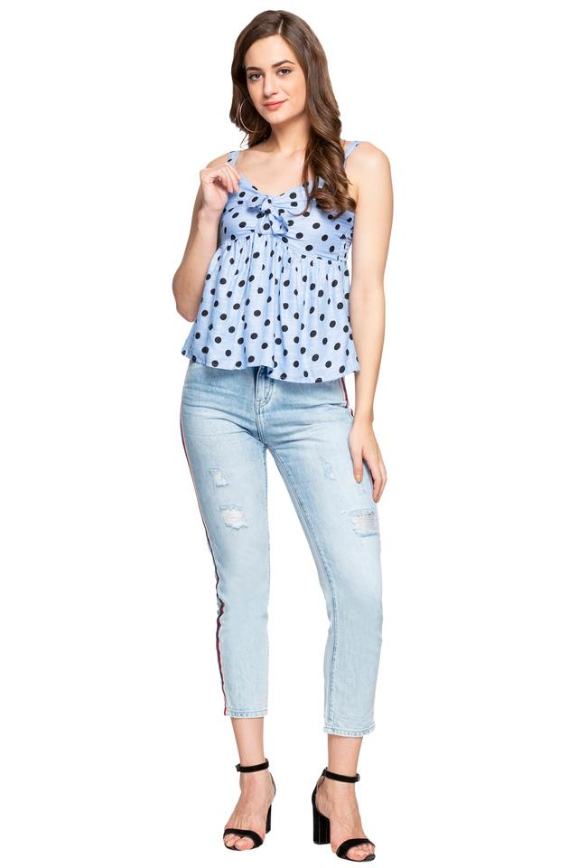 Womens Strappy Neck Polka Dots Tie Up Top