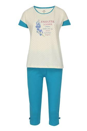 Womens Round Neck Graphic Print Top and Capris Set