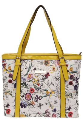HAUTE CURRY Womens Yellow Floral Print Handbag