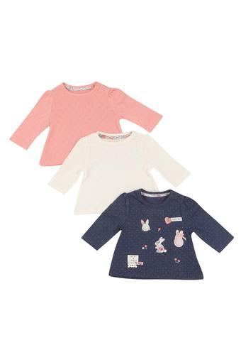 Kids Round Neck Perforated and Patch Work Tee - Pack of 3